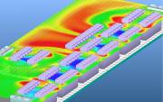 Airflow and temperature distribution in a horizontal plane of a data center  » Click to zoom ->